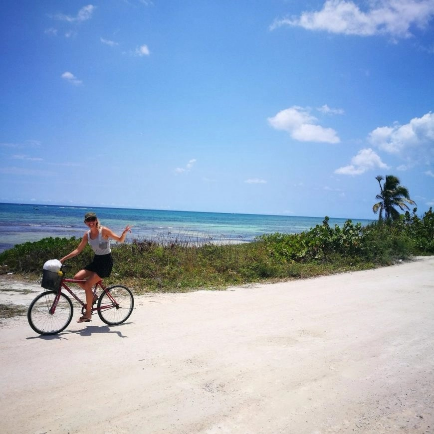 Destination Addict - Cycling along the coast road in Mahahual