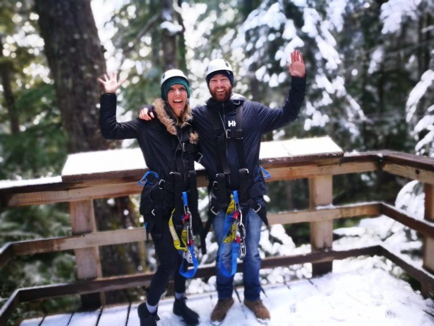 Destination Addict - Hyped after our 2nd zip line on the Ziptrek Ecotours Eagle tour, Whistler, British Columbia, Canada