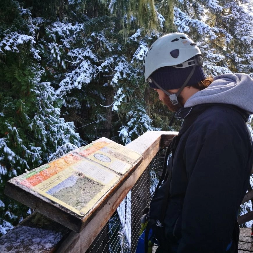 Destination Addict - Reading all about the environment on our Ziptrek Ecotours Eagle Tour, Whistler, British Columbia, Canada