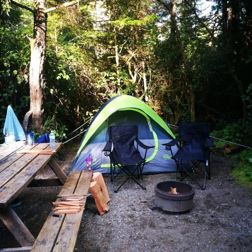 Destination Addict - Our cosy camp spot, Bella Pacific Campground, Tofino, British Columbia, Canada