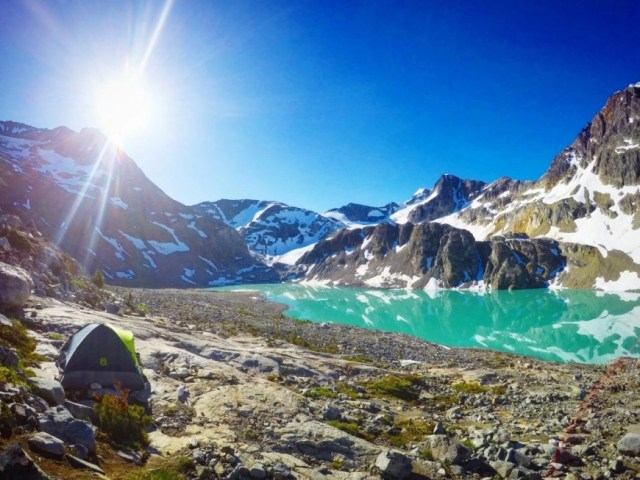 Camp set up at Wedgemount Lake with the Glacier to the far left of the lake - Canadian Lakes that will blow your mind