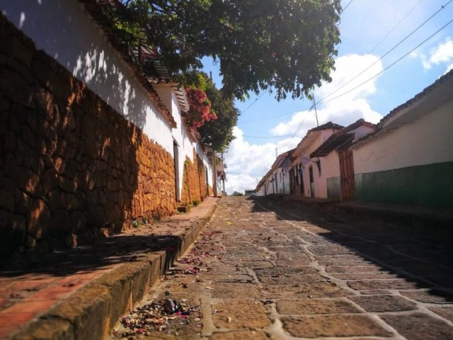 Looking down one of the beautiful streets in Barichara - El Camino Real Colombia