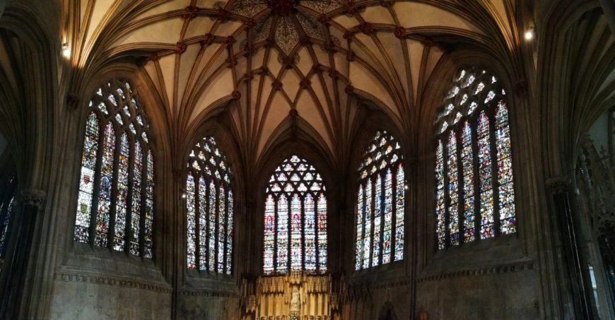 Stunning stained glass inside Wells Cathedral, England's smallest city