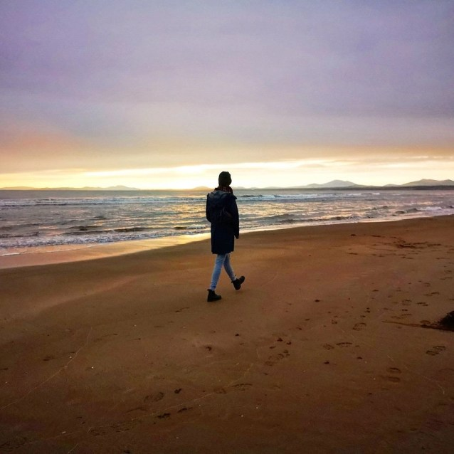 Taking a stroll on Harlech Beach, North Wales