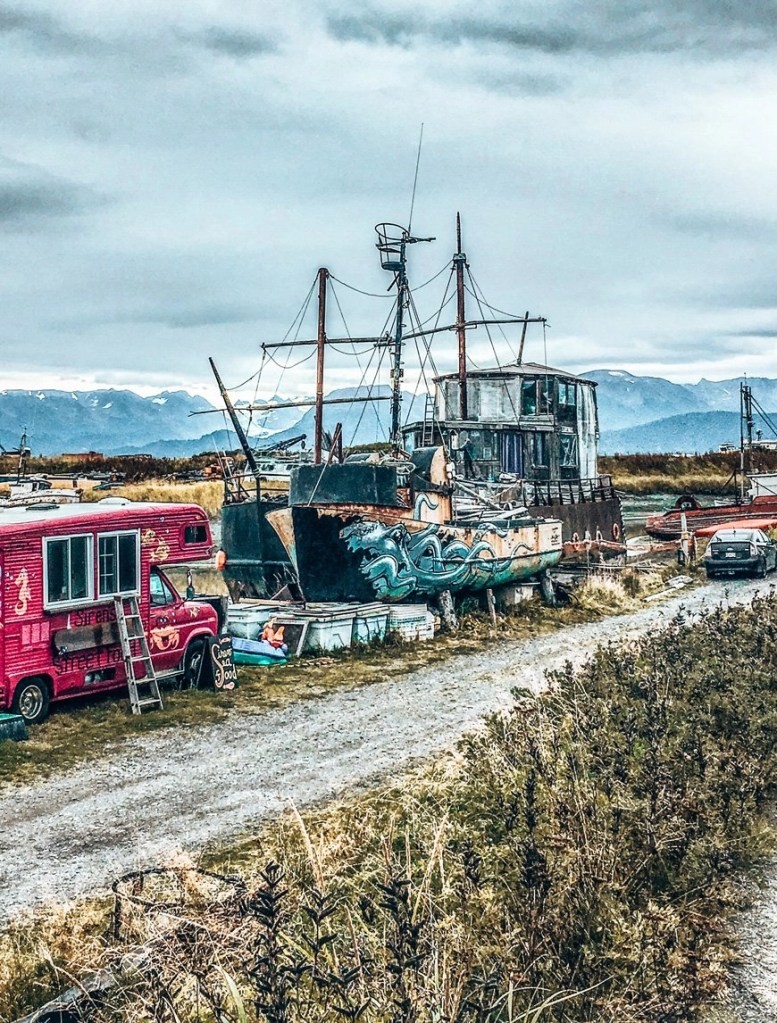 A graffitied fishing boat in remote Alaska - Photo credit : Pia Nemec & Chris Cash