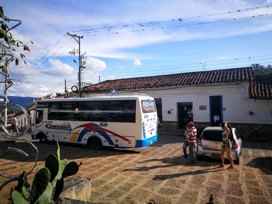 Buses in Colombia - A Typical bus leaving the town of Los Santos after our Camino Real Adventure