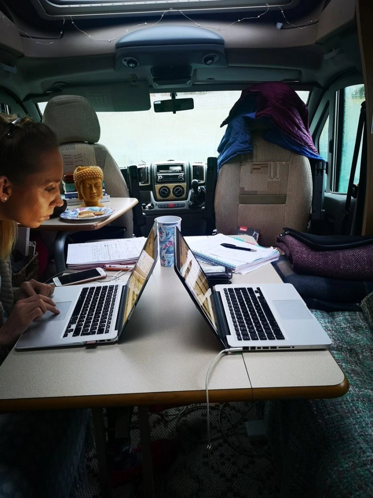 Digital nomad life - Usual day at the office in our motorhome