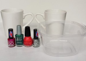Materials for Marbled Nail Polish Mugs