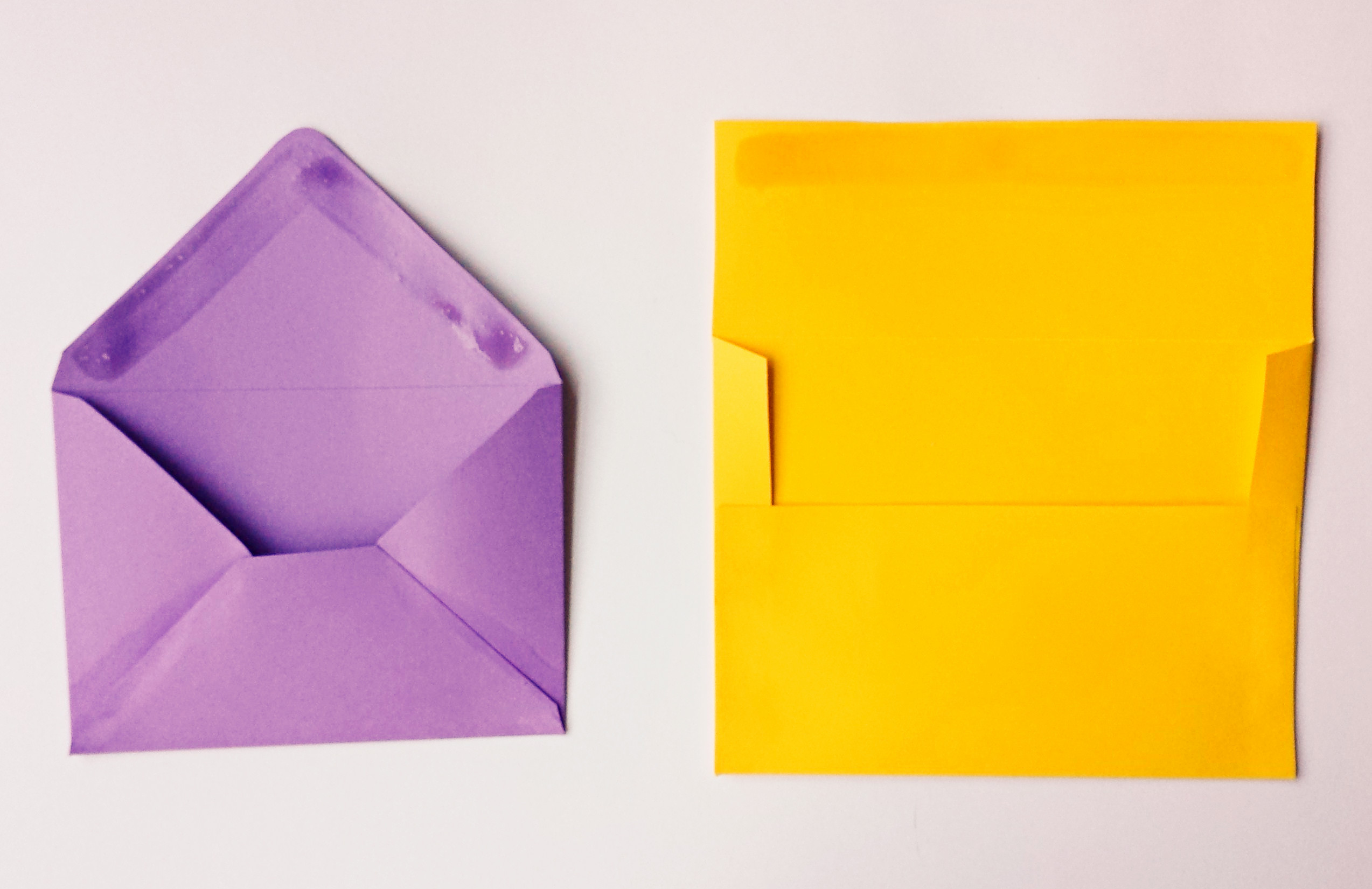Purple and Yellow Envelopes with Homemade Envelope Glue. Purple and Yellow Envelopes with Homemade Envelope Glue