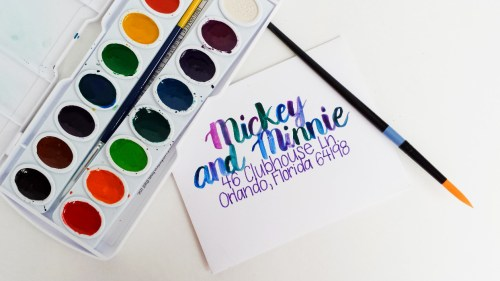 7 Ways to Address an Envelope -- Watercolor Brush Lettering -- Destination Decoration