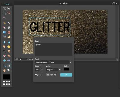 Adding Glitter to Your Text Using Pixlr