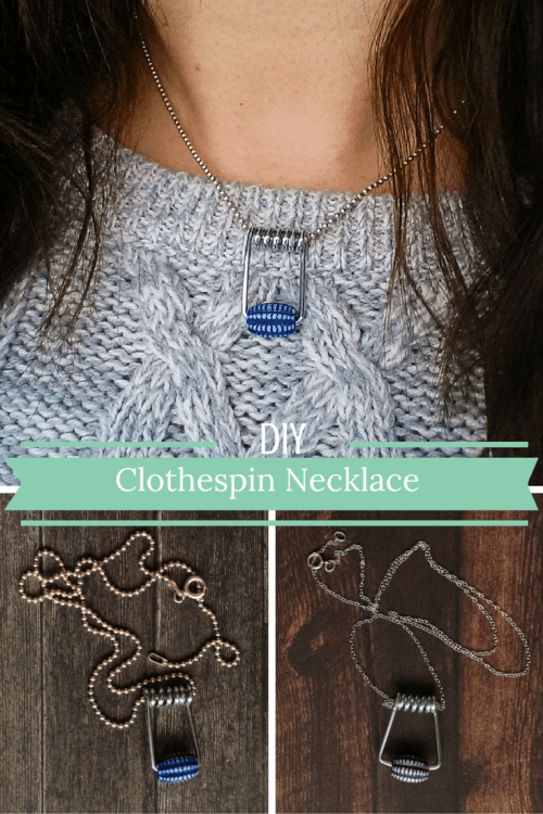 DIY Clothespin Necklace Using Clothespin Springs, Beads, and Necklace Chains -- Destination Decoration