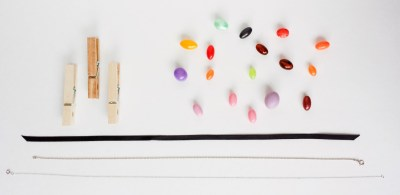DIY Necklace with Clothespins, Beads, and a Necklace Chain