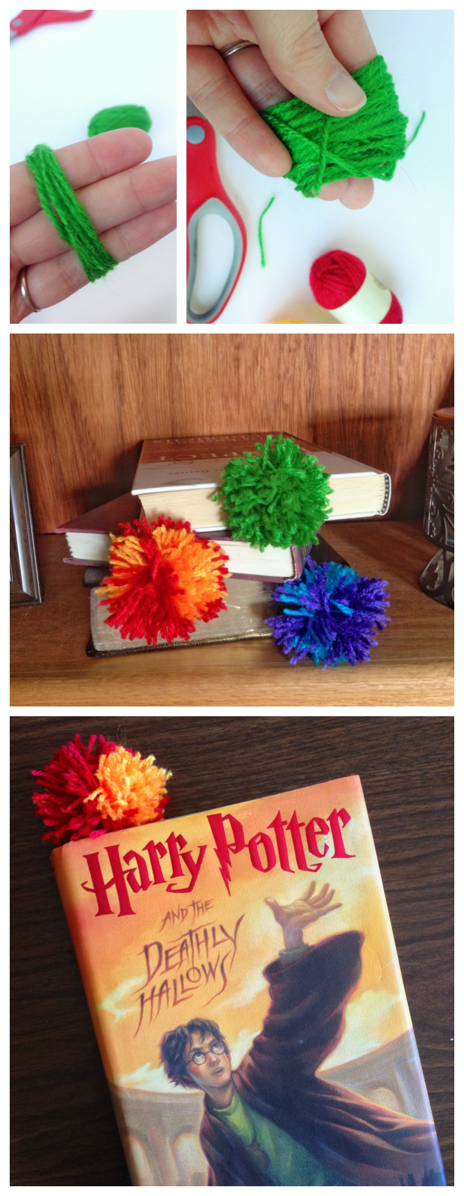 Diy yarn pom pom bookmarks How to make a simple bookmark