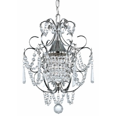 Crystal Mini Chandelier Pendant Light In Chrome Finish