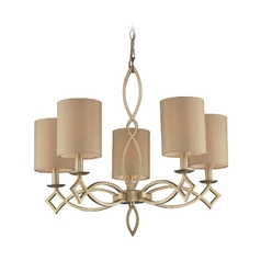 Modern Chandelier With Beige Cream Shades In Aged Silver Finish