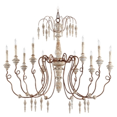 Quorum Lighting La Maison Manchester Grey W Rust Accents Chandelier