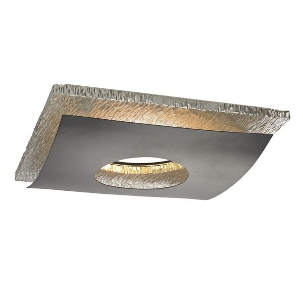 Hammered Chrome Decorative Square Ceiling Trim for Recessed Lights     Recesso Lighting by Dolan Designs Hammered Chrome Decorative Square Ceiling  Trim for Recessed Lights 10912