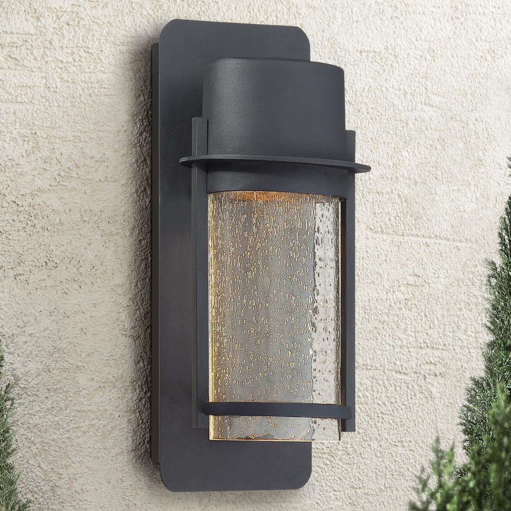 modern outdoor wall light with clear glass in black finish at destination lighting