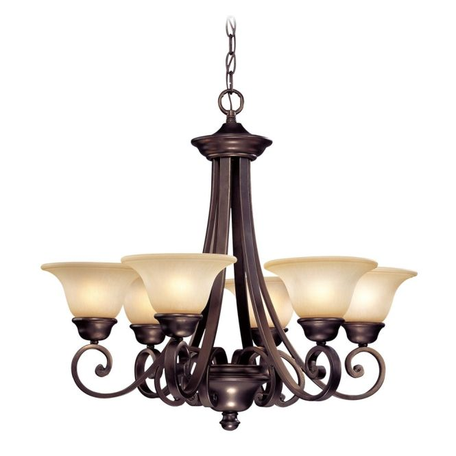 Dolan Designs Lighting Six Light Chandelier With Bell Shaped Glass Shades 1080 207