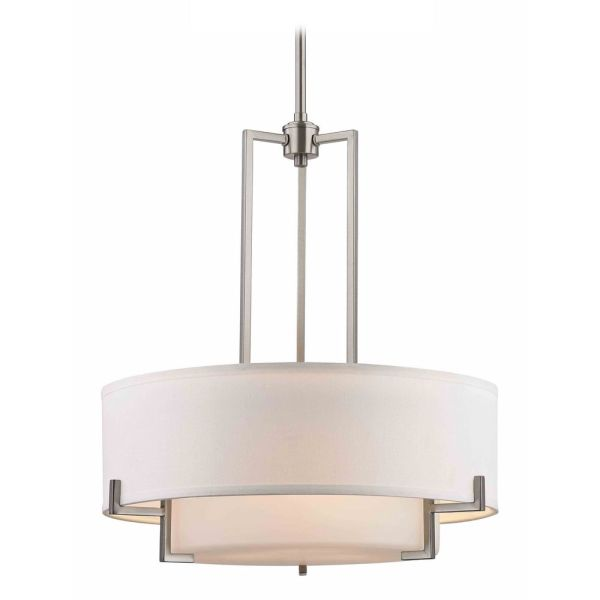Modern Drum Pendant Light with White Glass in Satin Nickel Finish     Design Classics Lighting Modern Drum Pendant Light with White Glass in  Satin Nickel Finish 7013
