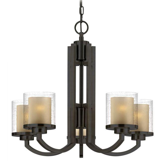 Dolan Designs Lighting Seeded Glass Amber Chandelier Bronze 2950 78