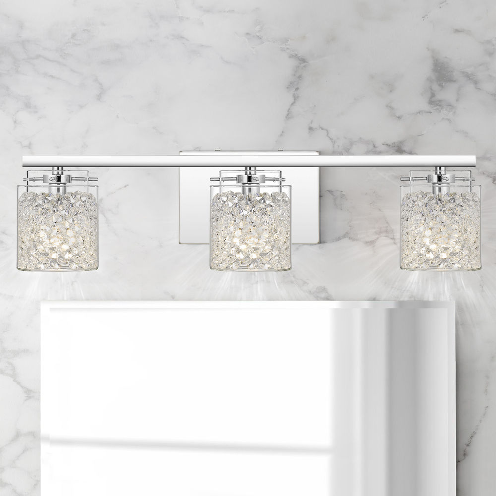 quoizel purcell polished chrome 3 light bathroom light with clear glass at destination lighting