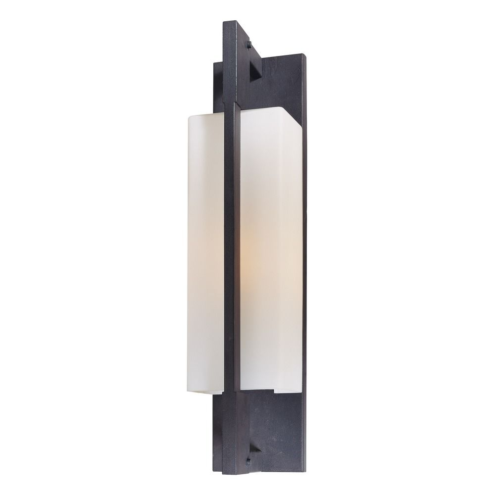 Modern Outdoor Wall Light with White Glass in Forged Iron ... on Modern Wall Sconces id=55587