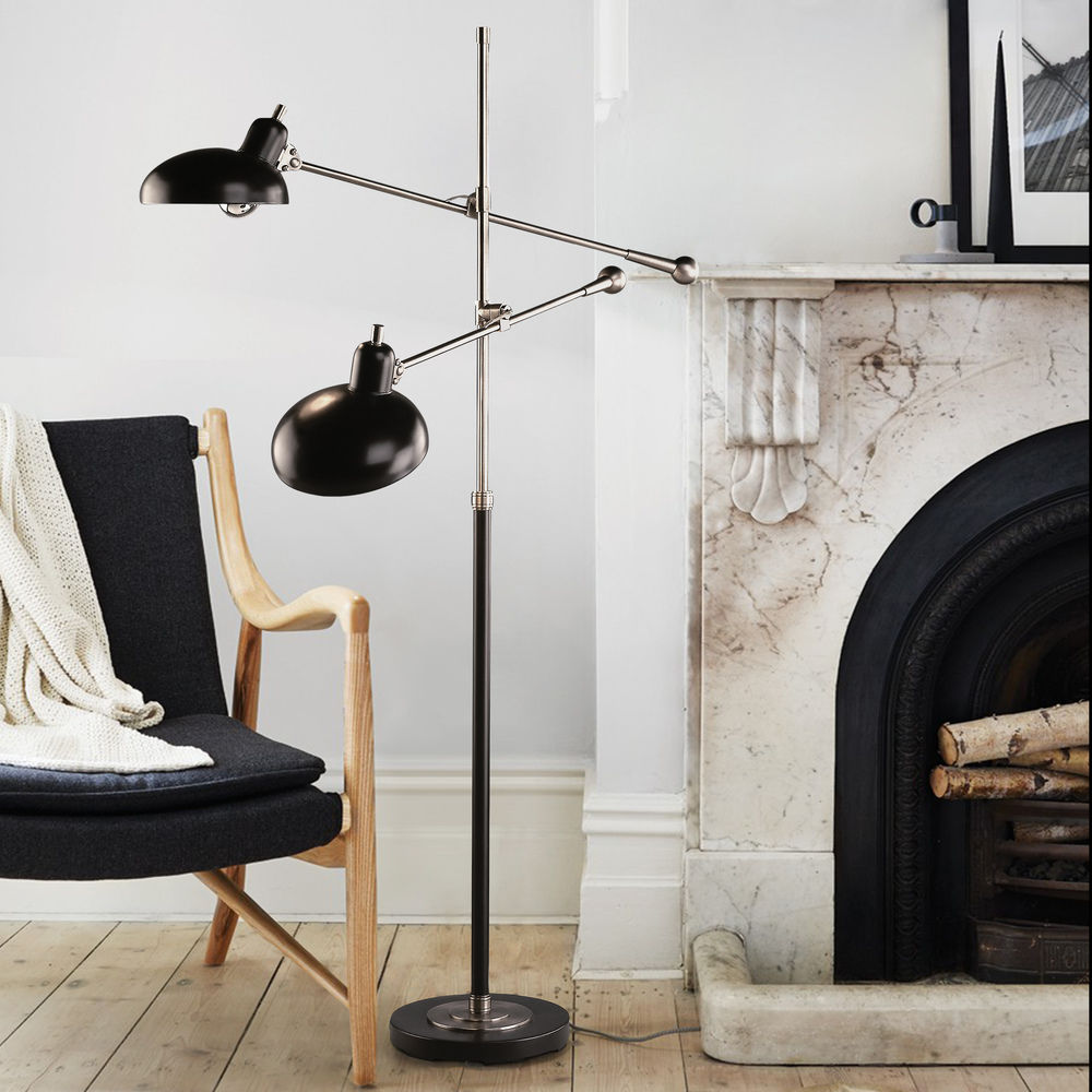 mid century modern floor lamp bronze nickel bruno lead by robert abbey at destination lighting