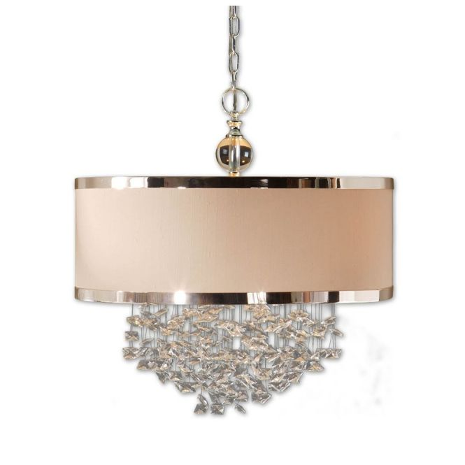 Uttermost Lighting Three Light Drum Shade Pendant With Crystal Accents 21908 Hover Or Click To Zoom