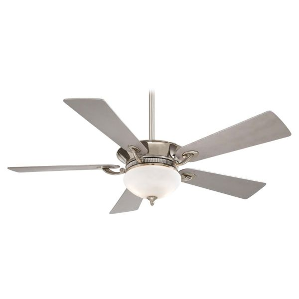 52 Inch Ceiling Fan with Light with White Glass in Polished Nickel     Hover or Click to Zoom