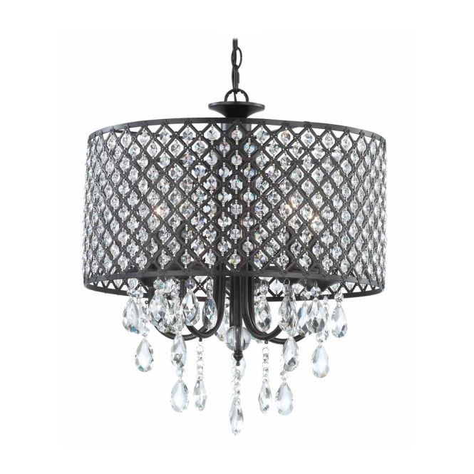 Ashford Classics Lighting Crystal Chandelier Pendant Light With Beaded Drum Shade 2235 148