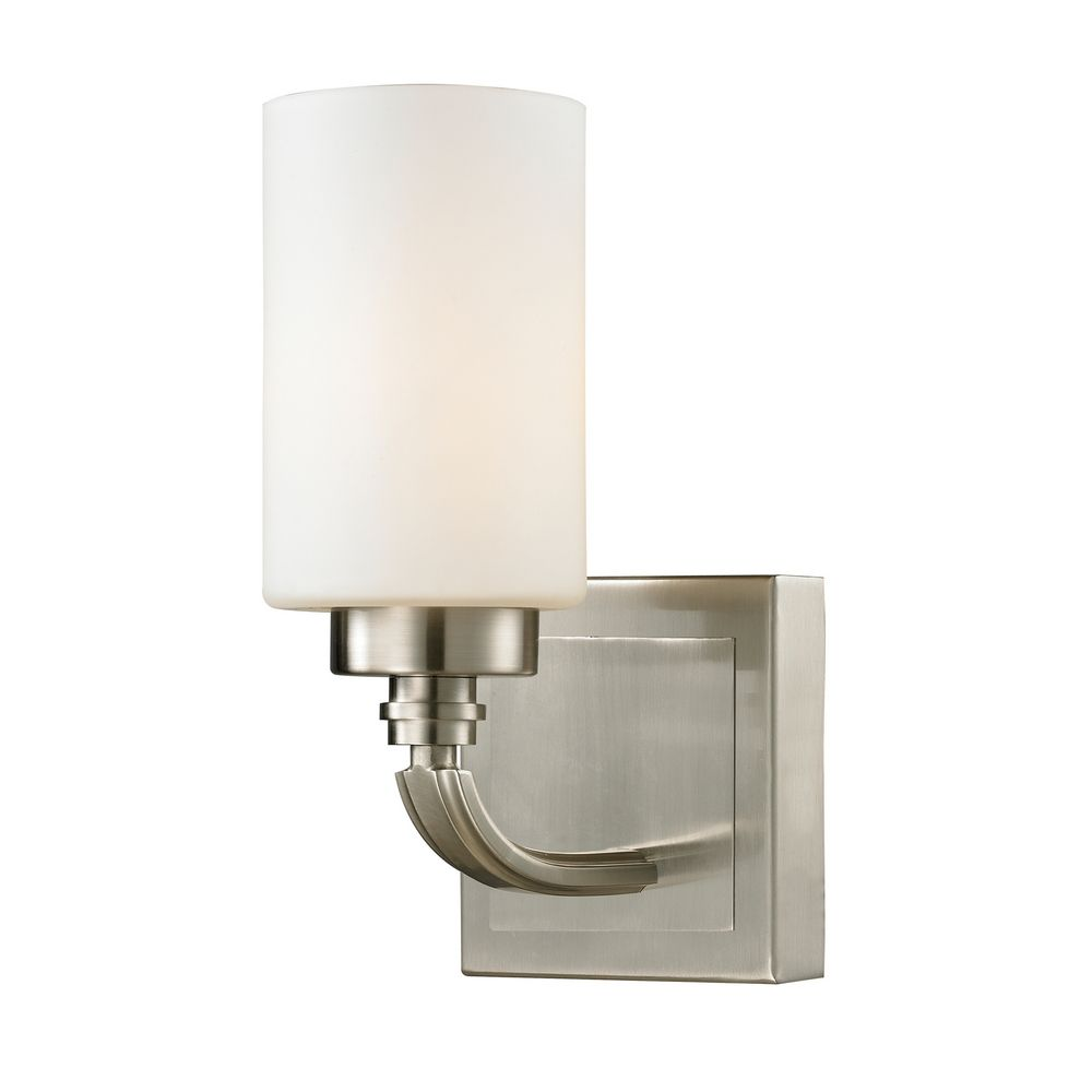 Modern LED Sconce Wall Light with White Glass in Brushed ... on Led Sconce Lighting id=35545
