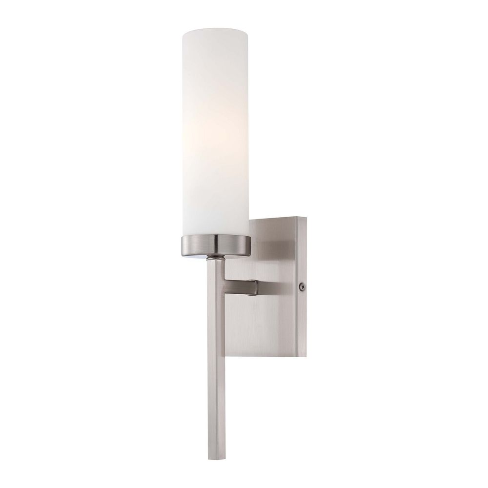 Modern Sconce Wall Light with White Glass in Brushed ... on Modern Wall Sconces id=62612