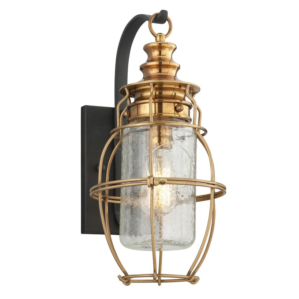 Outdoor Wall Light with Clear Cage Shade in Aged Brass ... on Brass Wall Sconces Non Electric Lighting id=80580