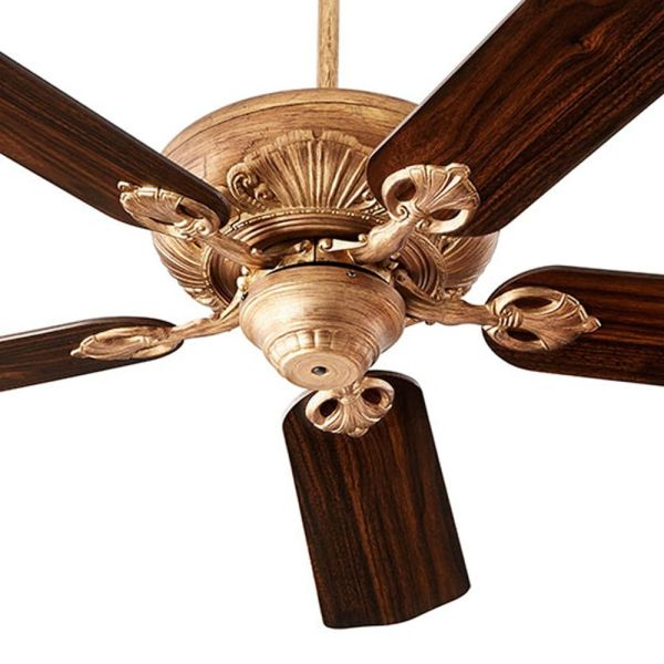 Quorum Lighting Chateaux Vintage Gold Leaf Ceiling Fan Without Light         Ceiling Fan Without Light 78605 30  Hover or Click to Zoom