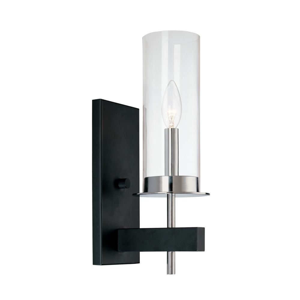 Modern Sconce Wall Light with Clear Glass in Chrome/Black ... on Modern Wall Sconce Lights id=24181