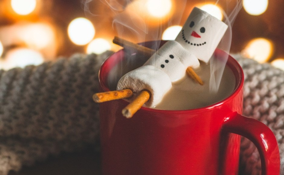 Hot Chocolate with Marshmallow Snowman