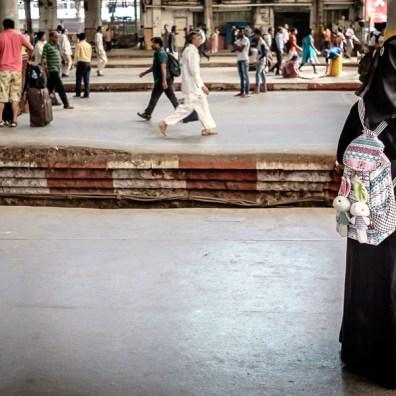 Dressed in black, white bunny bag