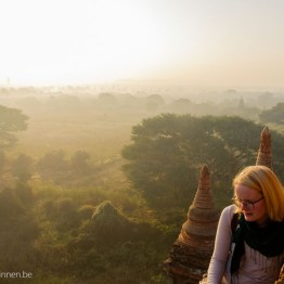 On the pagoda by sunrise in Bagan