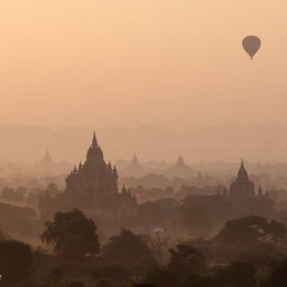 Hot air balloon floating over Bagan Pagoda