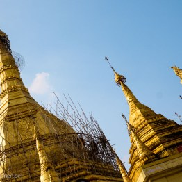 The several towers of Sule Pagoda