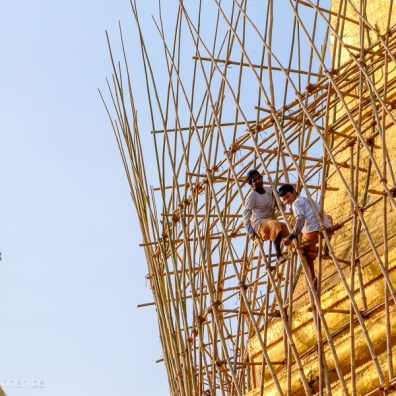 Wooden construction around Sule Pagoda