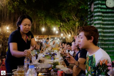 Enjoying great food with local family