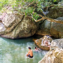 Swimming at Ba Ho Waterfalls