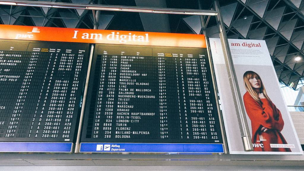 Fazendo Negócios com a Coréia do Sul Placa de aviso voos em aeroporto