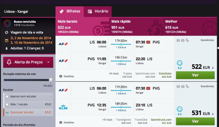 Encontrar voos baratos entre Lisboa e Xangai no Momondo