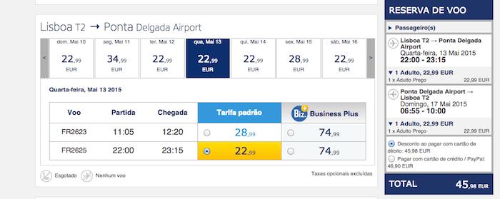 Ofertas low cost para os Açores na Ryanair