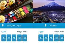 Promoções de voos para Tóquio e Banguecoque