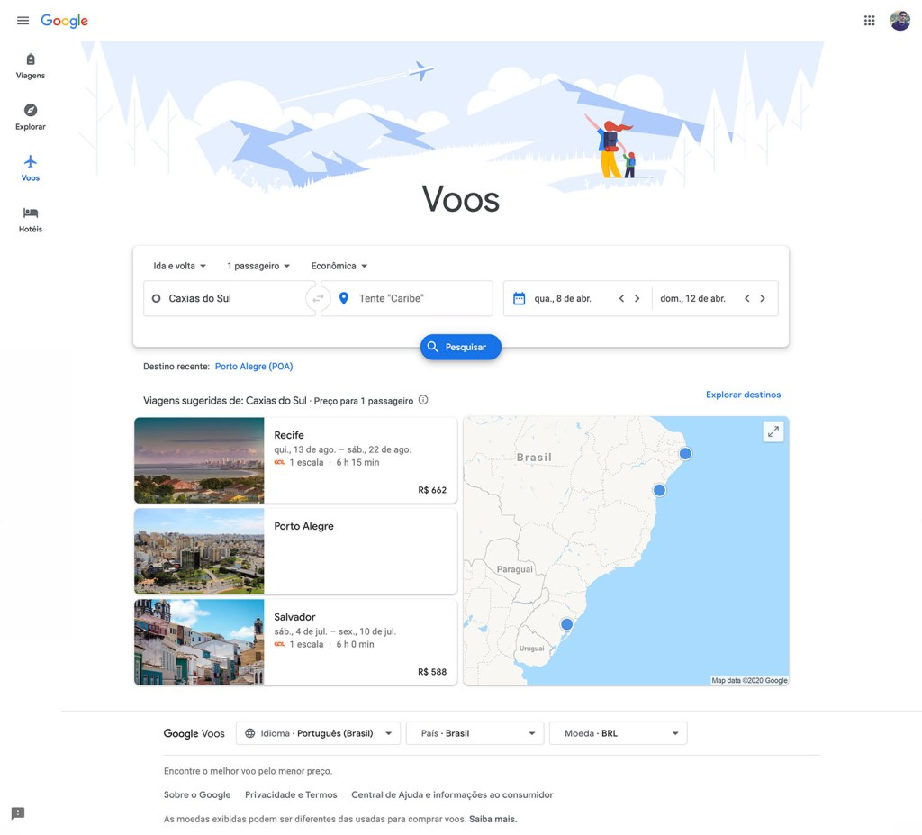 Tela inicial do Google Flights